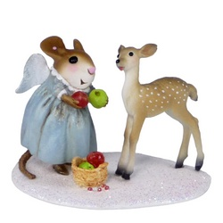 Mouse with angel wings offers fuit to fawn in the snow